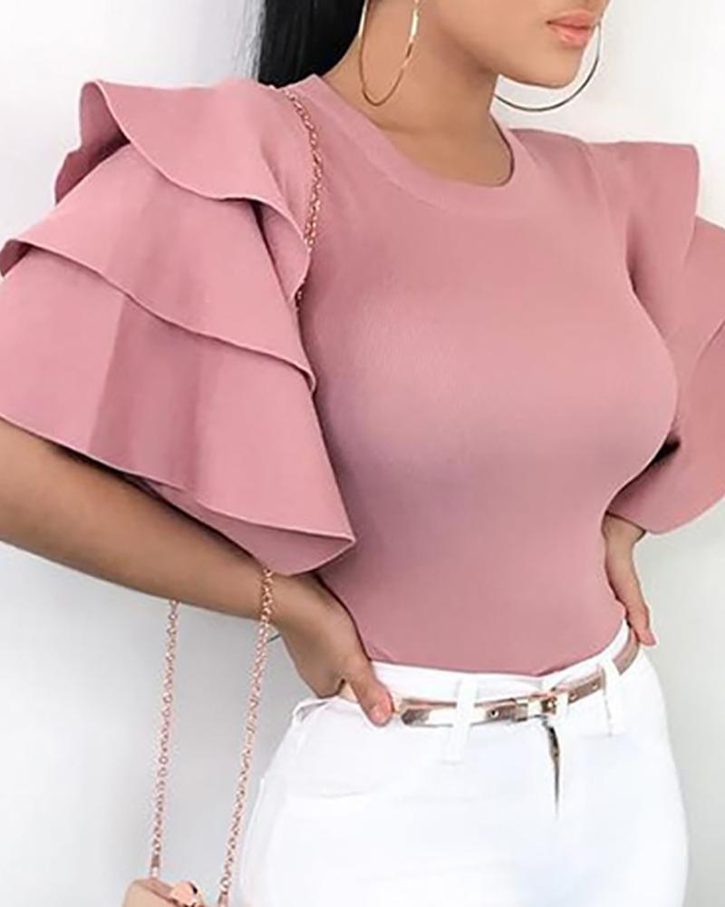 Layered Ruffle Bell Sleeve Casual Blouse, Pink