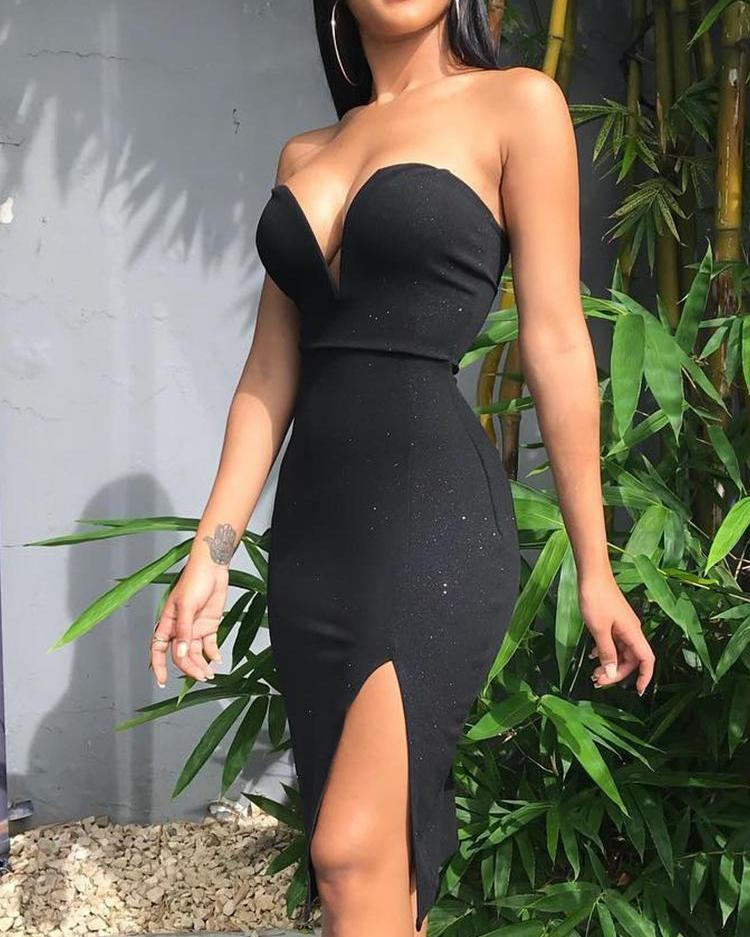 boutiquefeel / Vestido de Festa com Namorados Neck Slit Side