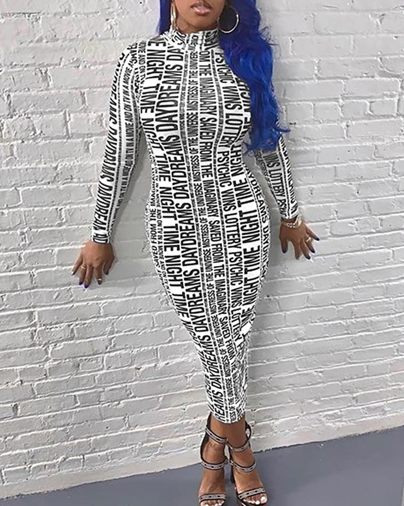 joyshoetique / High Neck Letter Print Long Sleeve Slinky Dress