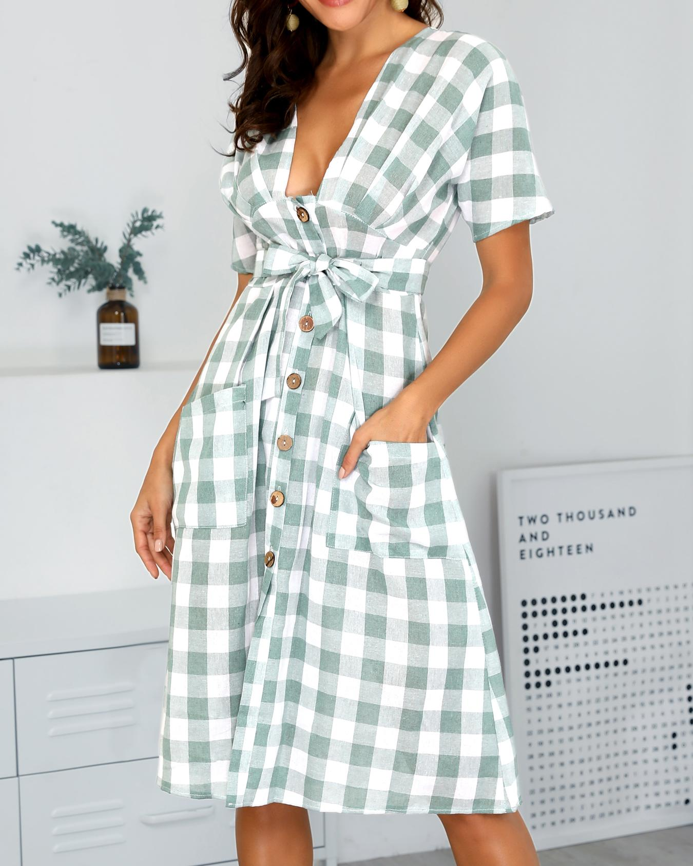 Grid Dual Pocket Buttoned Casual Dress фото