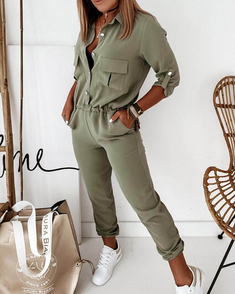 Solid Long Sleeve Elastic Waist Jumpsuit фото