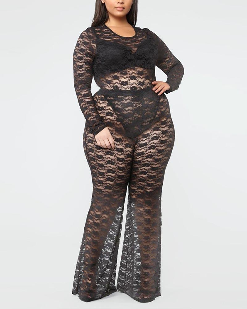 See Through Letter Pattern Bodysuit With Pants Set фото