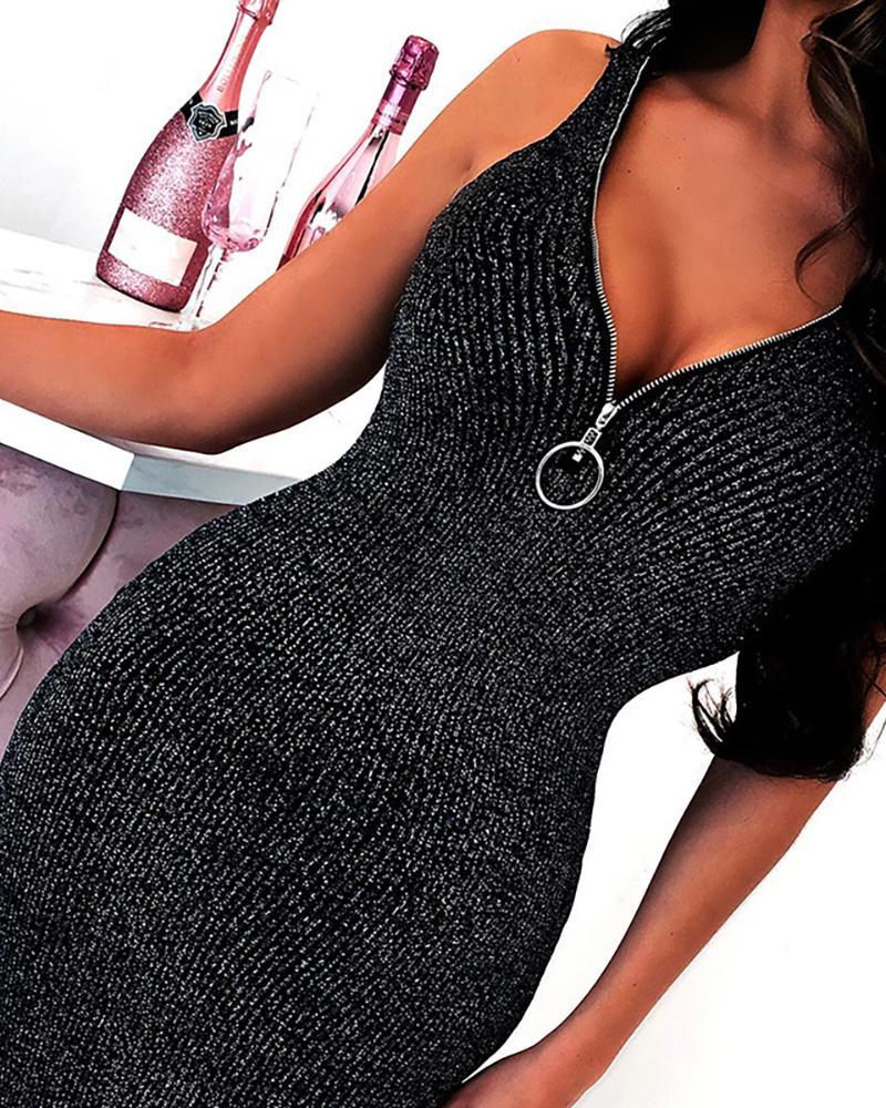 Glitter Thin Strap V Neck Zipper Design Bodycon Dress, Black