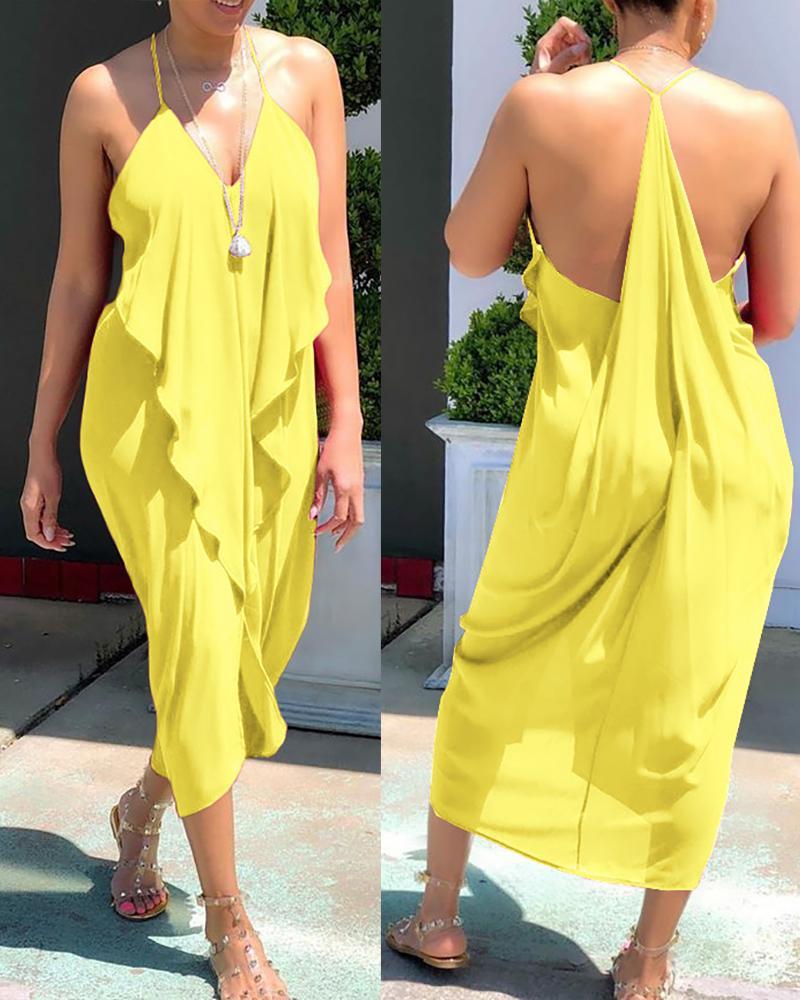 Frill Hem Ruffles Backless Slit Dress фото