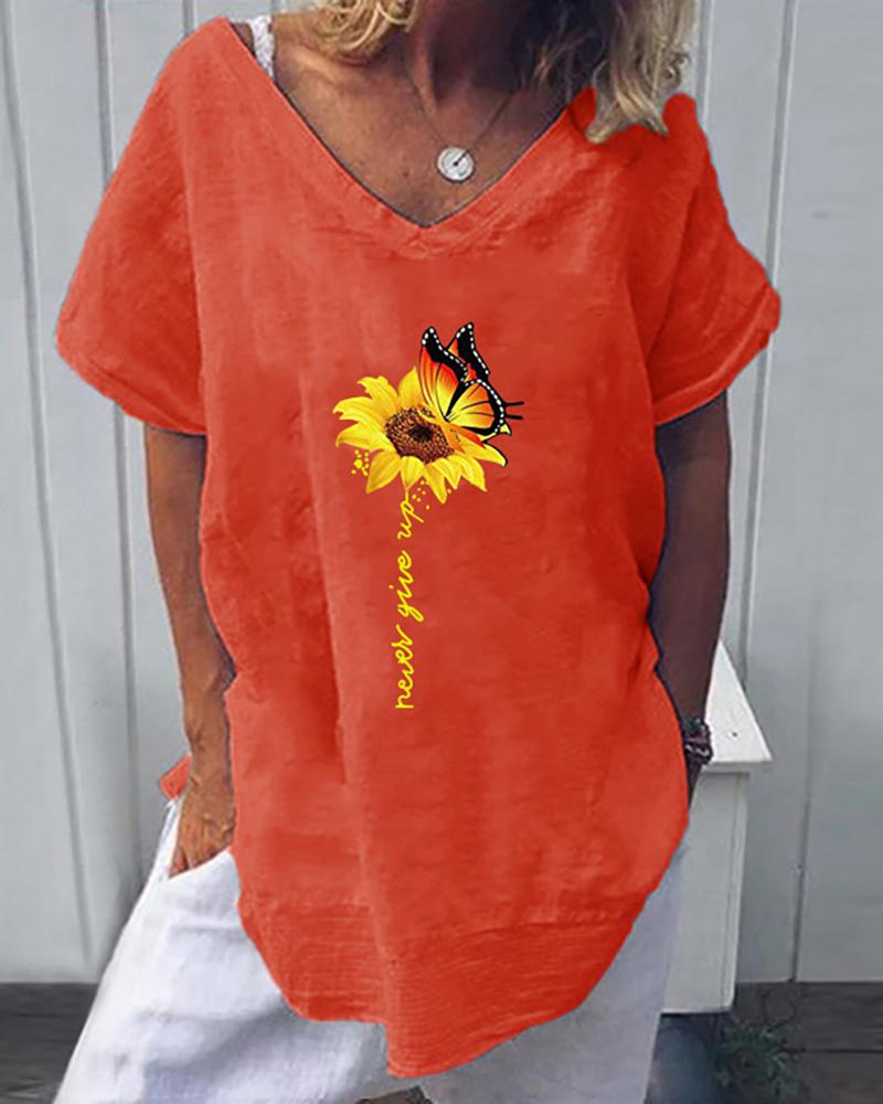 Sunflower Butterfly Print Letter Pattern Casual T-shirt фото