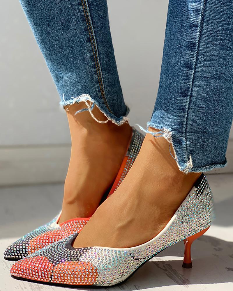 chicme / Diamante Trim Casual Thin Heels