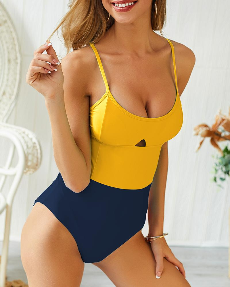 Contrast Color Sling One Piece Swimsuit фото