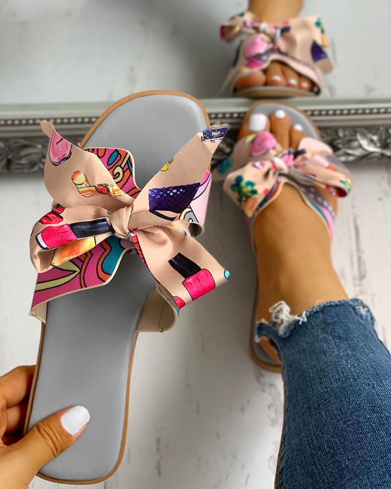 Floral Print Bowknot Design Casual Sandals фото