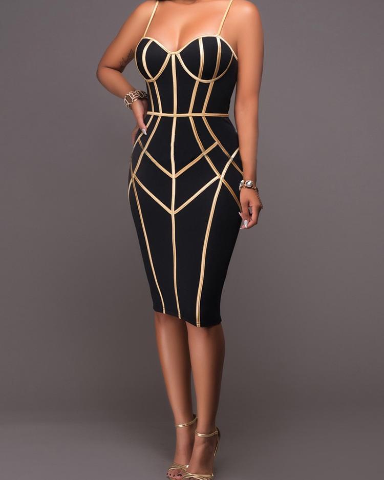 chicme / Vestido ajustado con lazo en contraste con correa de espagueti