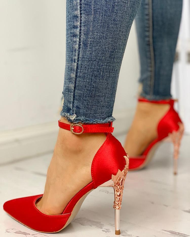 Pointed Toe Floral Metal Detail Thin Heels
