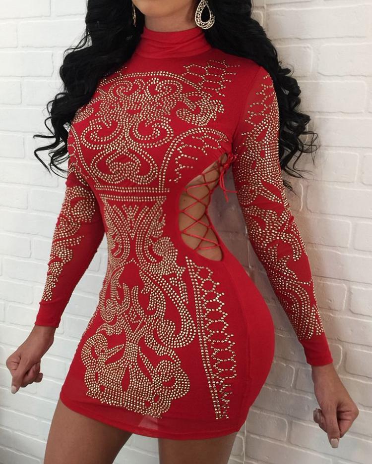 boutiquefeel / Estampado en caliente con cordones de corte ajustado vestido de fiesta