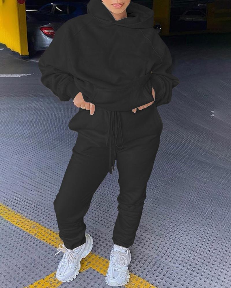 Solid Pocket Design Hooded Top & Drawstring Pants Set фото