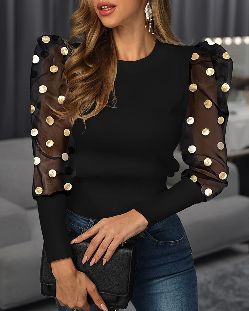 Mesh Dot Puffed Sleeve Blouse фото