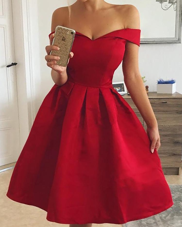 boutiquefeel / Vestido de fiesta plisado hombro fuera del hombro plisado