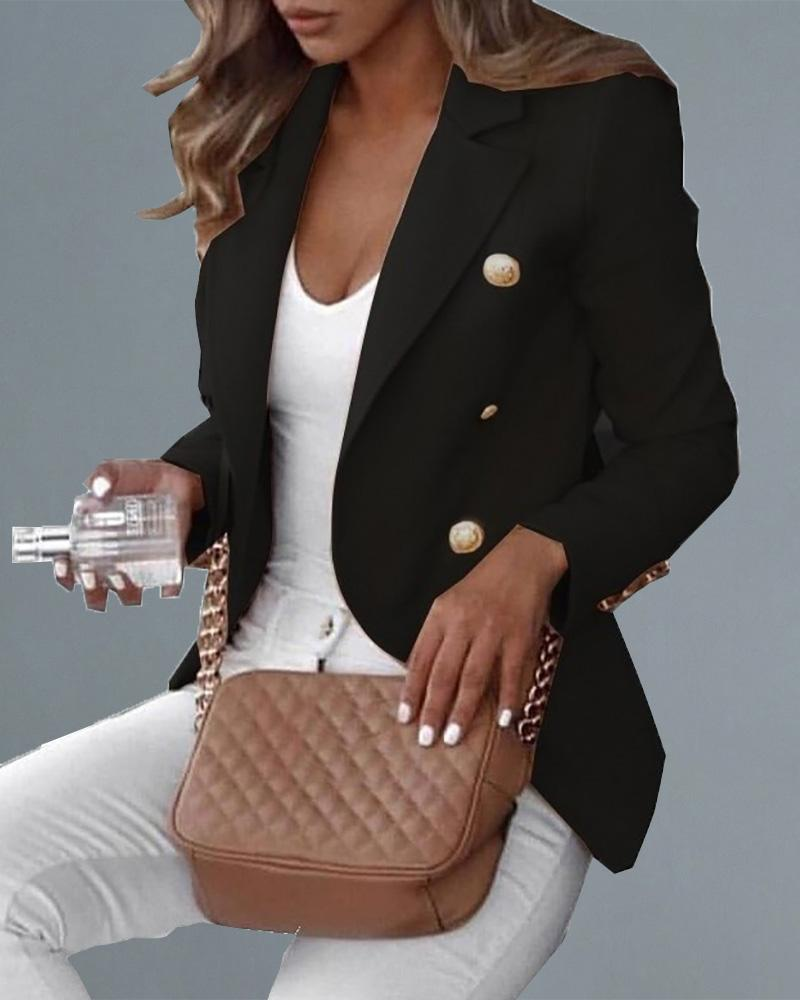 Double Breasted Long Sleeve Solid Blazer фото