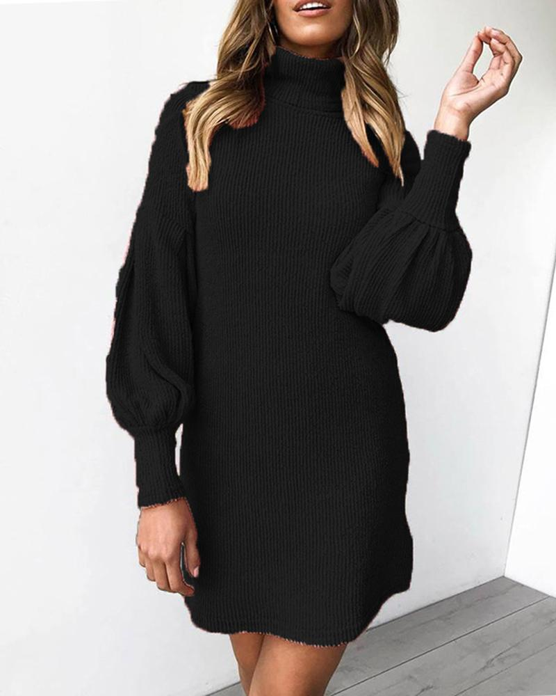 chicme / Knit Plain High Neck Casual Sweater Dress