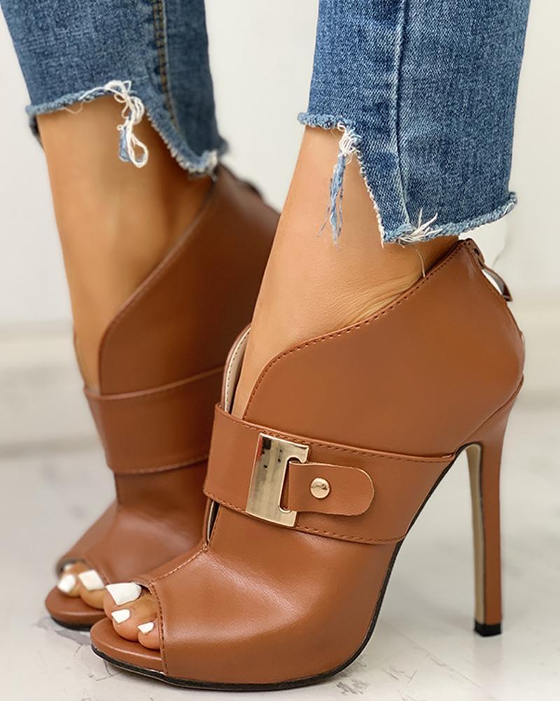 PU Peep Toe Buckled Thin Heels, Brown