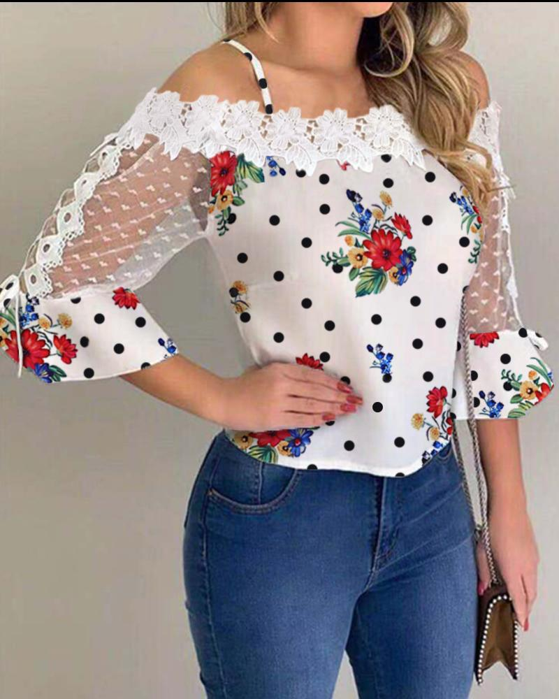 Cold Shoulder Mesh Insert Print Blouse фото