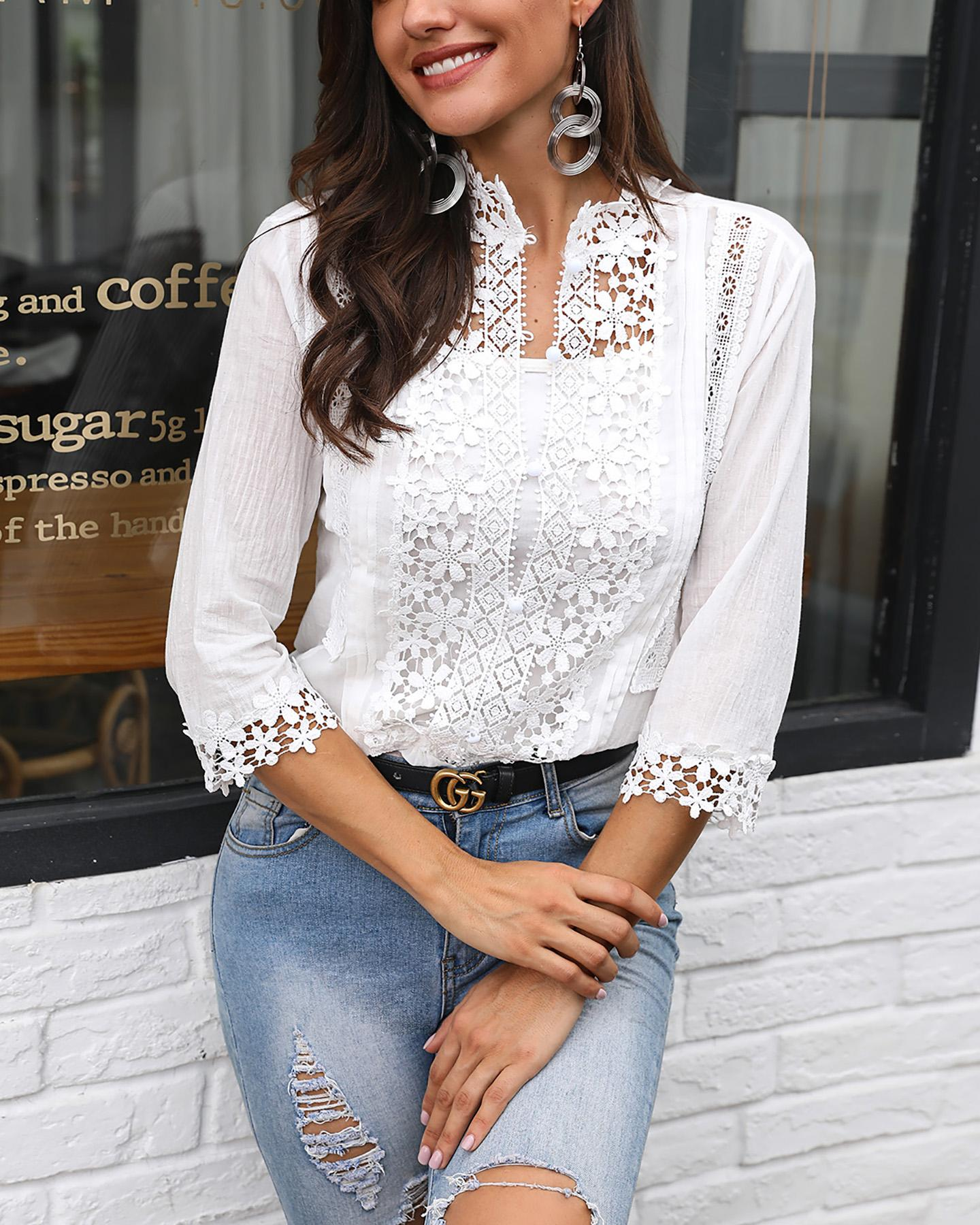 ivrose / Plunge Half Sleeve Crochet Lace Splicing Casual Blouse