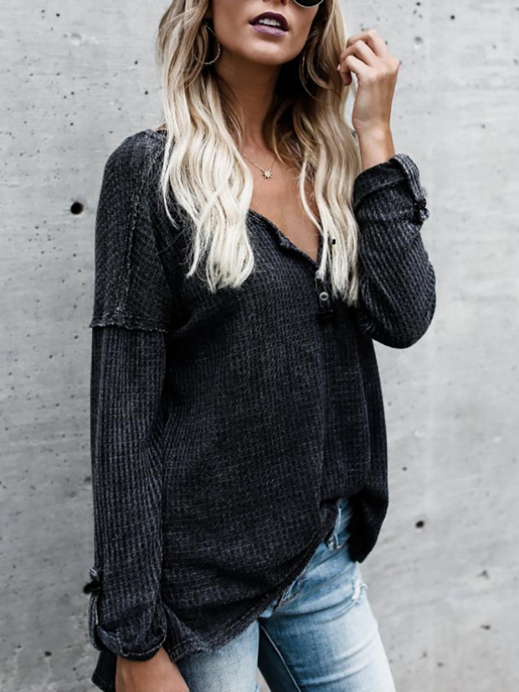 Fashion V Neck Roll Sleeve Casual Top фото