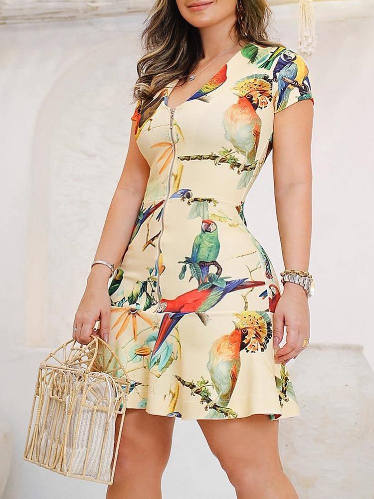 Bird Print Zipper Up Pep Hem Bodycon Dress