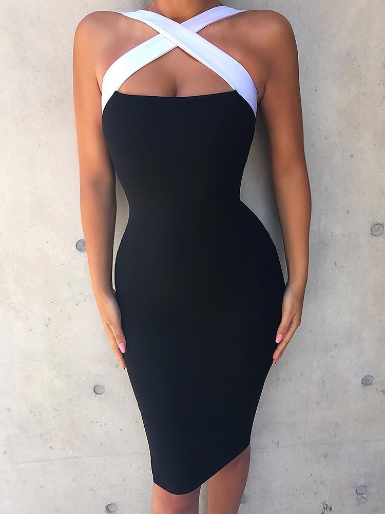 Купить со скидкой Contrast Color Halter Crisscross Party Dress