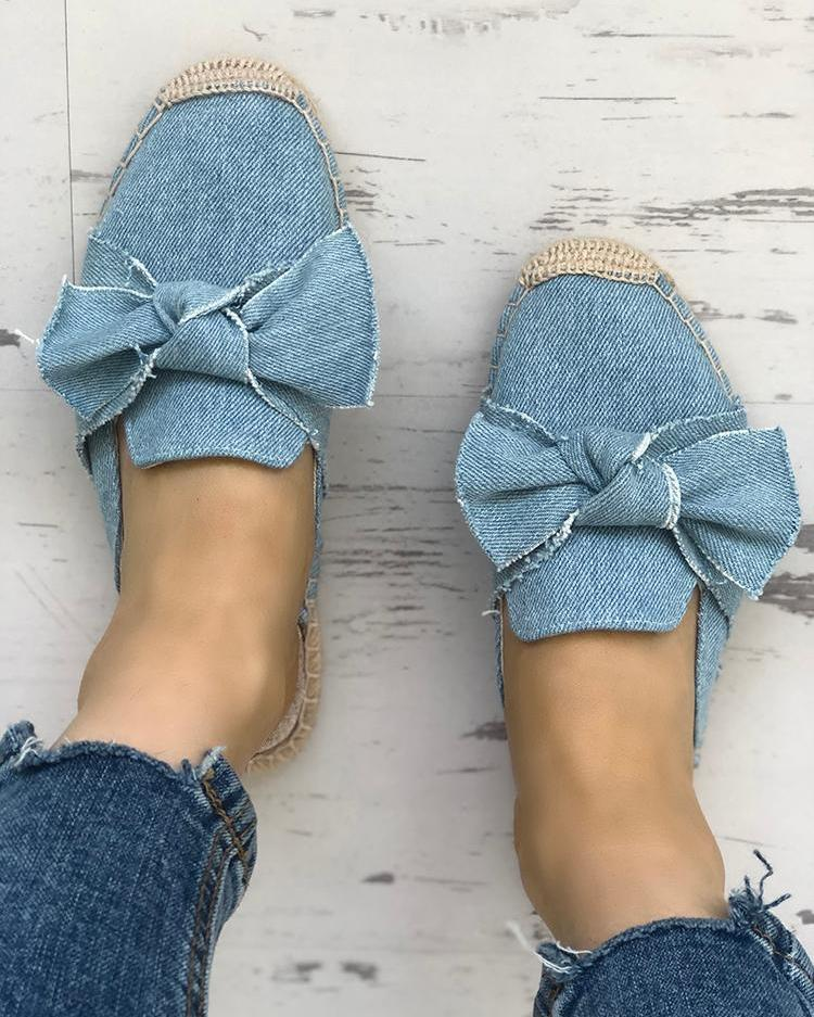 chicme / Denim Bowknot Espadrille Casual Slippers