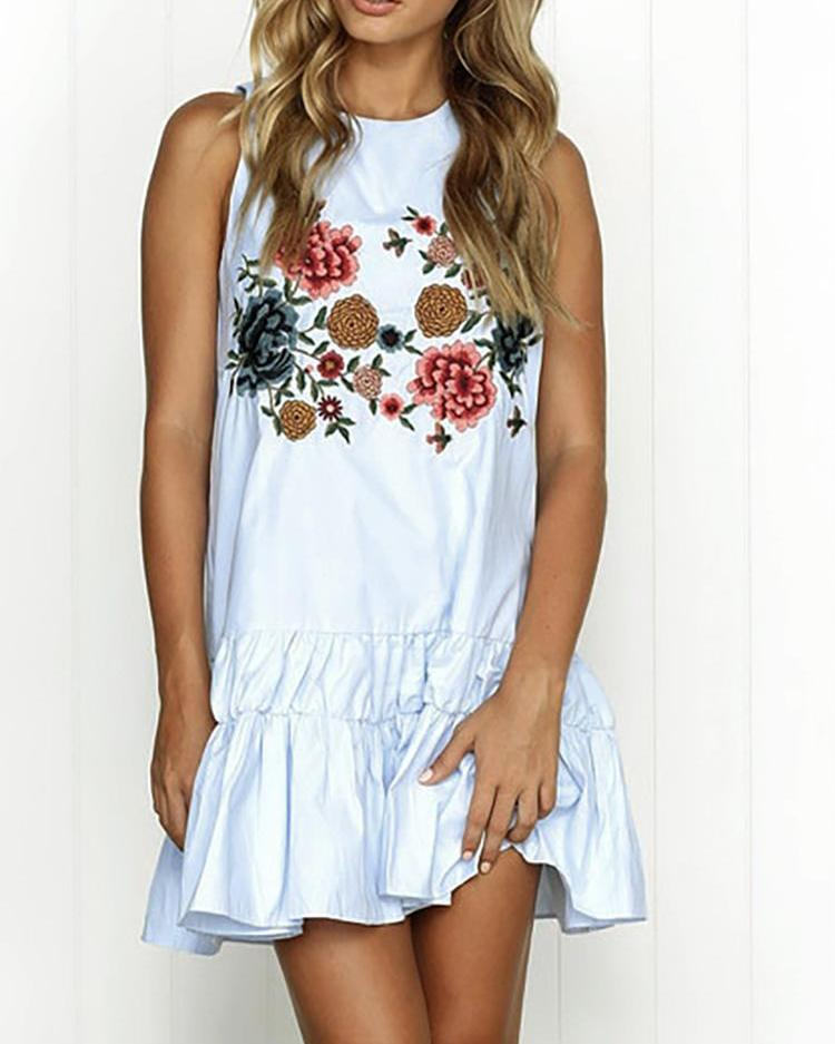 Floral Embroidered Ruffles Hem Sleeveless Dress