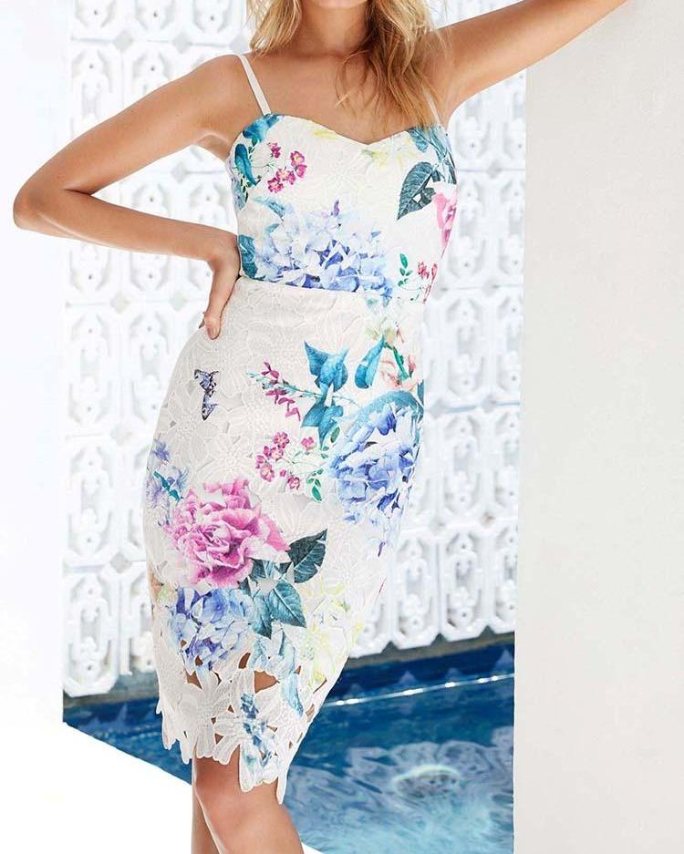 Spaghetti Strap Hollow Out Floral Dress