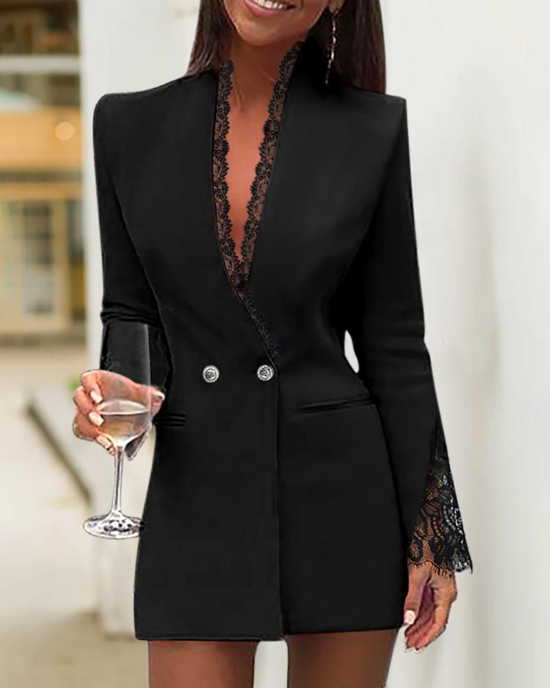 boutiquefeel / Vestido blazer con escote pronunciado de encaje