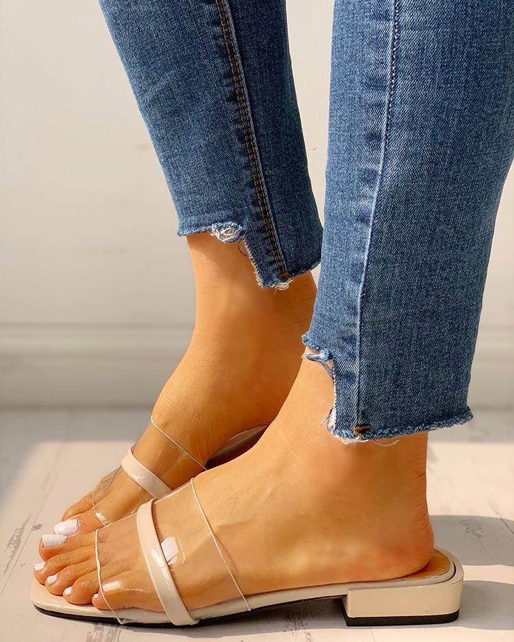Transparent Single Strap Open Toe Sandals