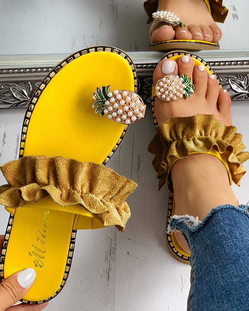 Pineapple Pattern Toe Ring Frill Hem Casual Sandals фото