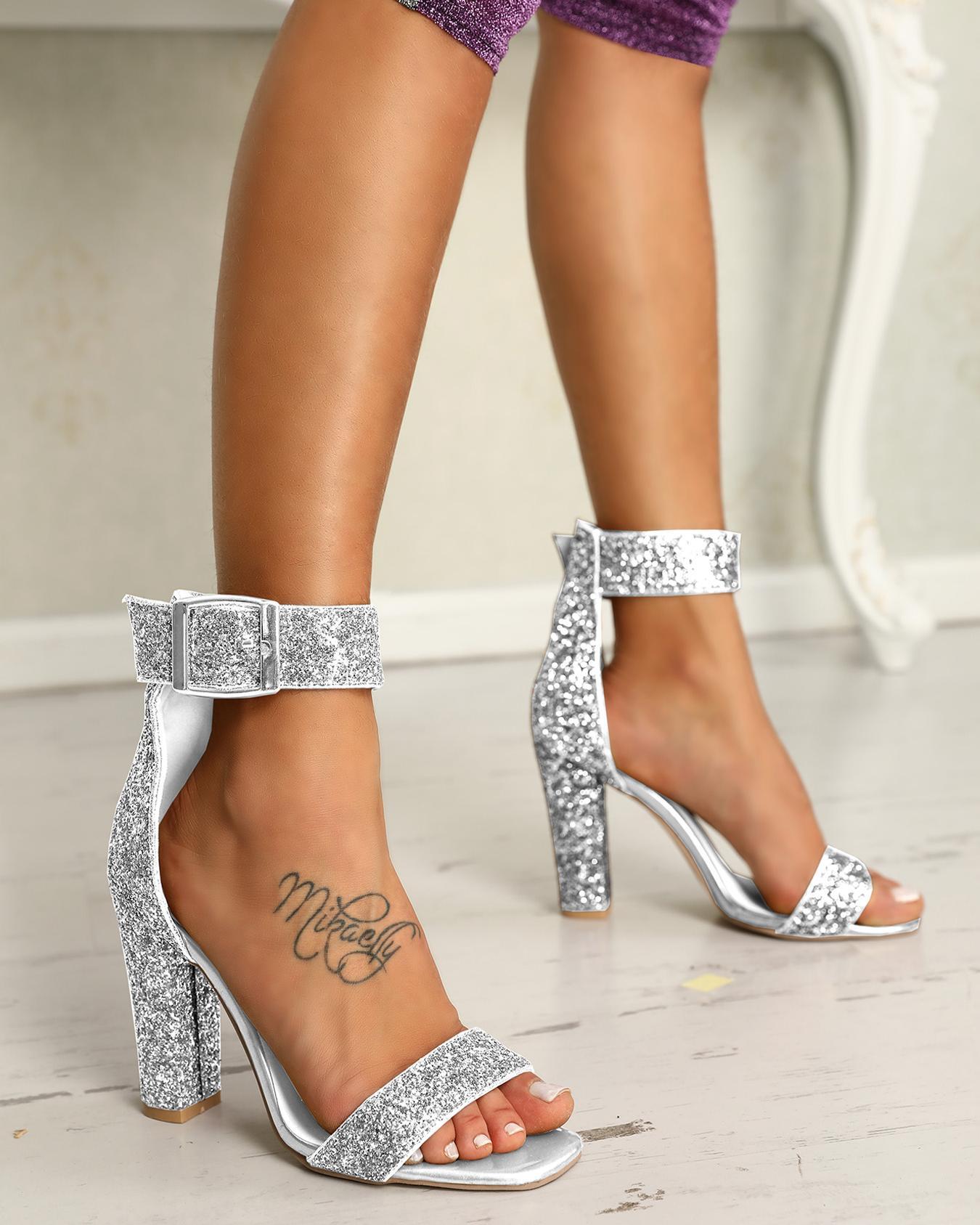 ivrose / Elegante lentejuelas abierto dedo del pie chunky sandalias de tacón