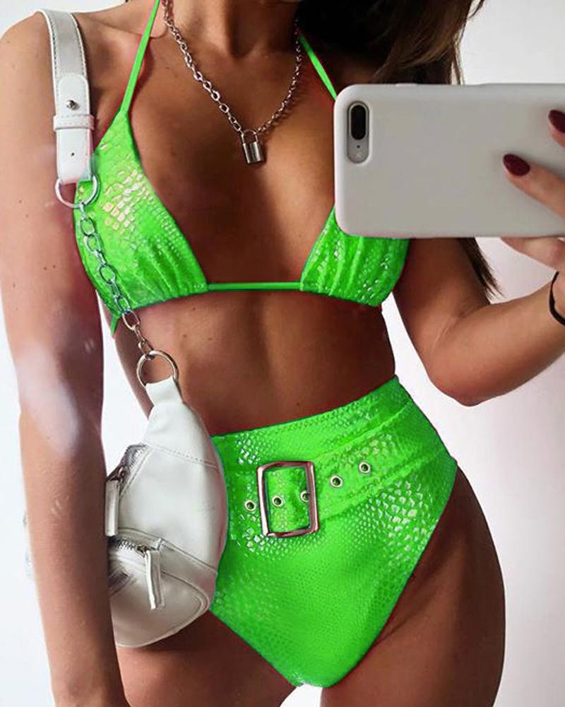 Halter Crocodile High Waist Bikinis Set фото