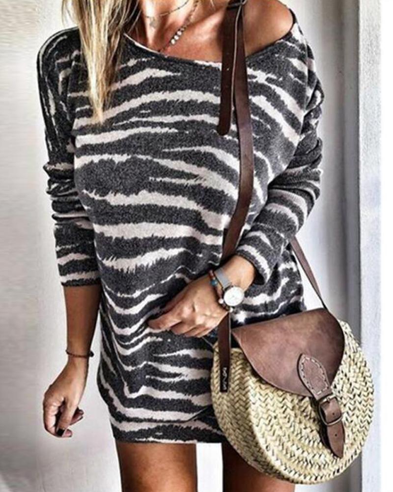 Round Neck Striped Mini Dress фото