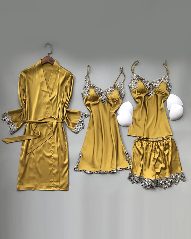 Splicing Lace Trim Satin 4PCS Sleepwear Set фото