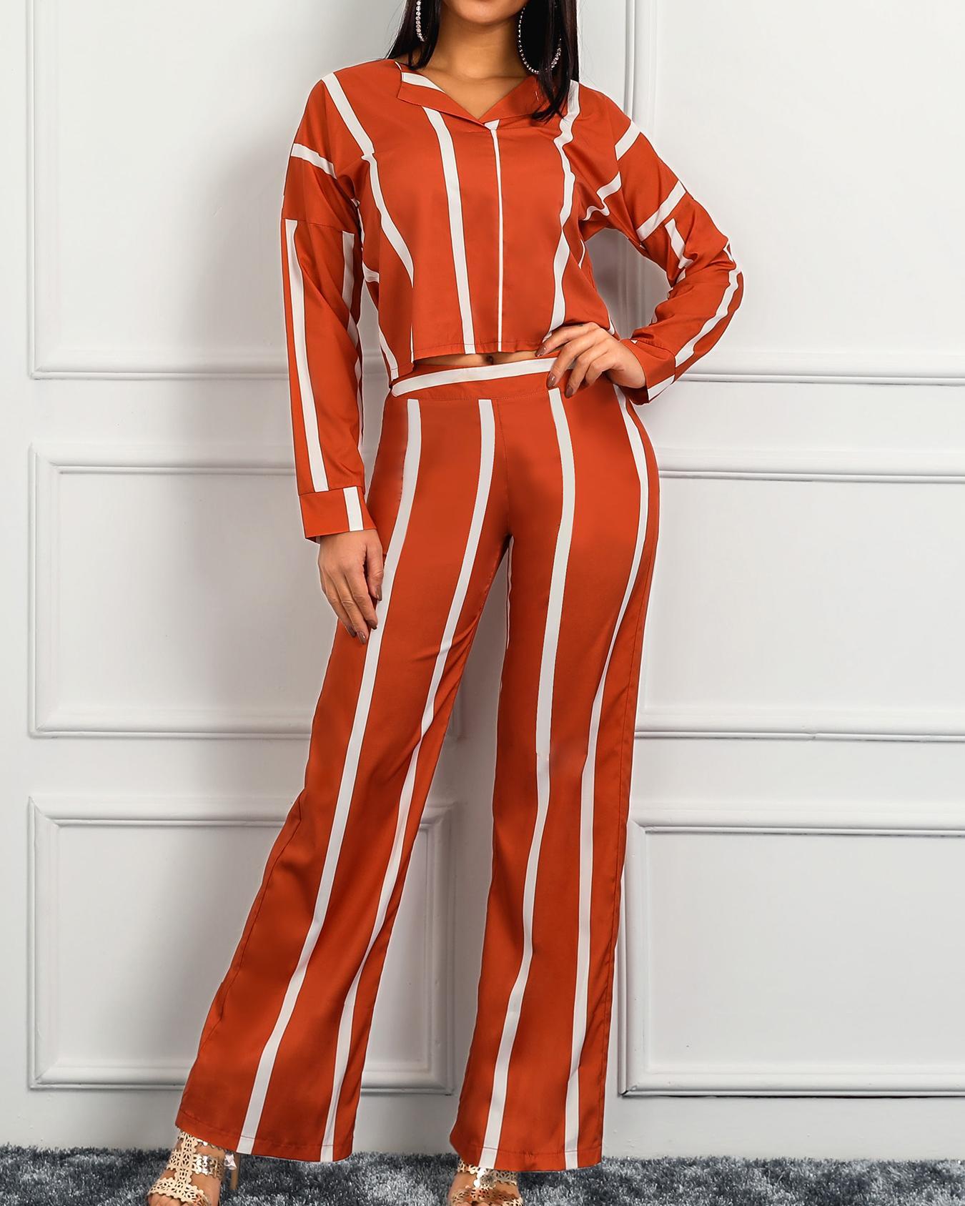 ivrose / Striped Print Leisure Blouse And Pants Set