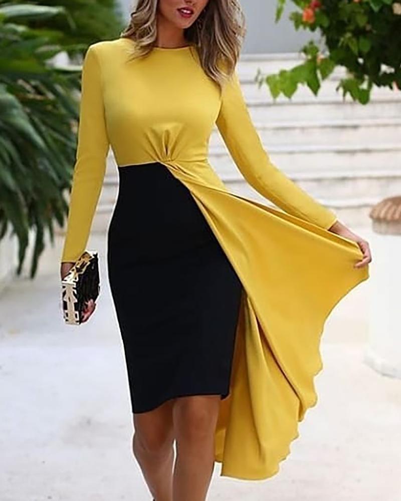 Colorblock Insert Backless Irregular Hem Dress фото