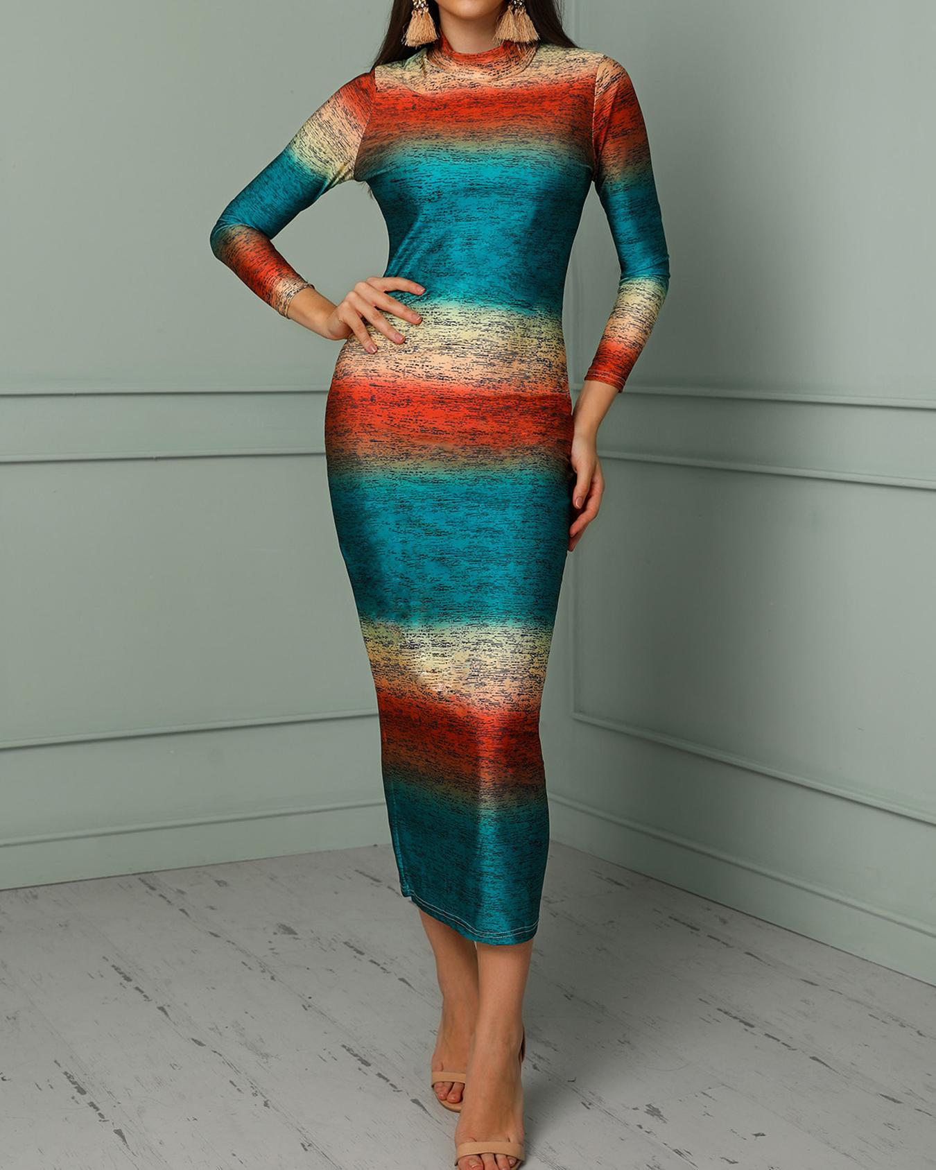 Gradient Color Long Sleeve Pencil Dress