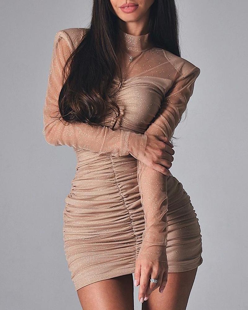 chicme / Glitter Sheer Mesh Ruched Mini Dress