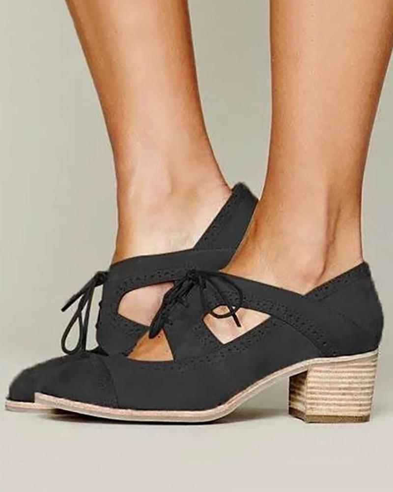 Lace-Up Cut Out Chunky Heels фото