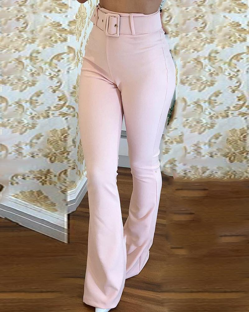 chicme / High Waist Belted Bell-Bottom Pants