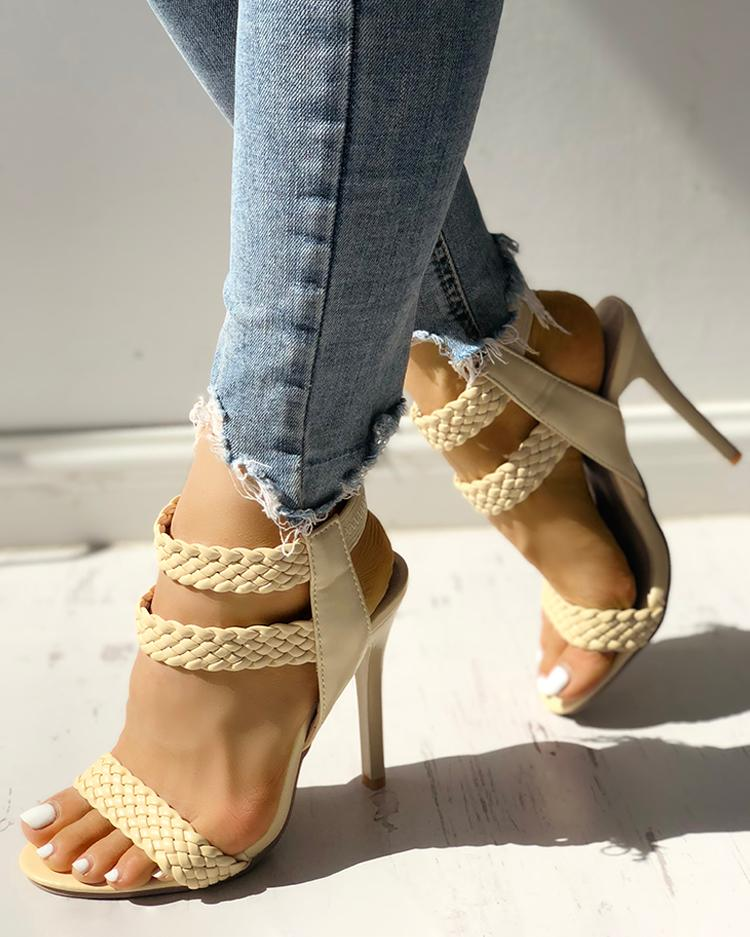 Hot Summer Knitted Ankle Strap Peep-toe Heeled Sandals
