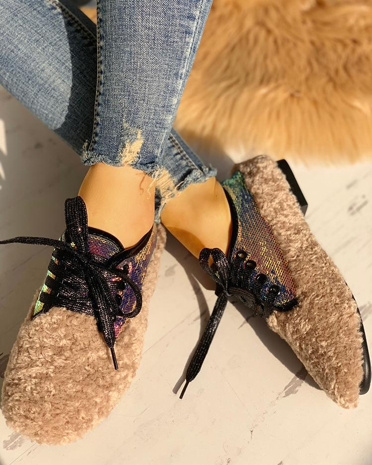 ivrose / Lace-Up Sequins Fluffy Flat Shoes