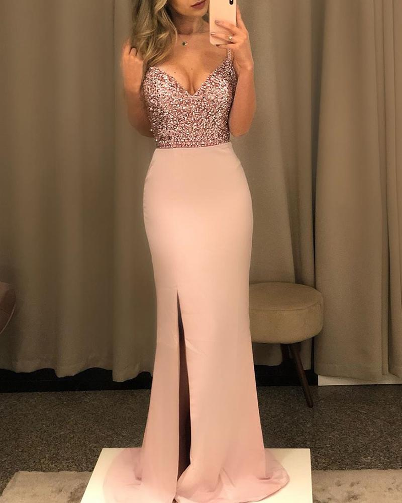 Sequins Spaghetti Strap Backless High Slit Maxi Dress, Pink