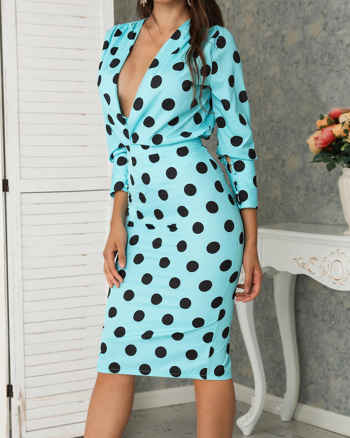 Dots Print Plunge Lantern Sleeve Midi Dress