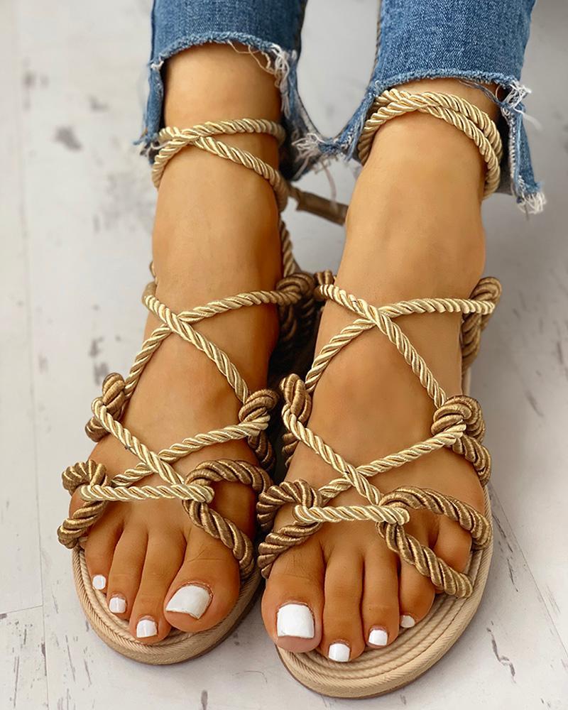 chicme / Sandalias planas anudadas con cordones de diseño de cuerda