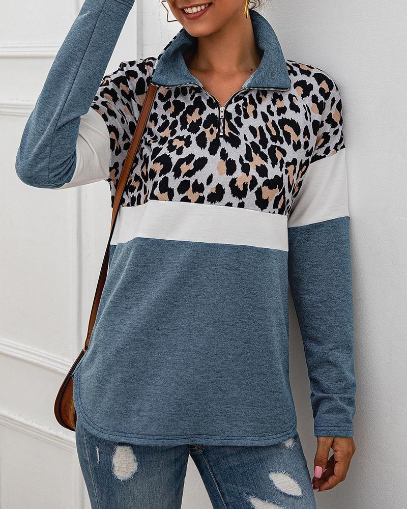 Leopard Colorblock Zipped Design Casual Sweatshirt фото