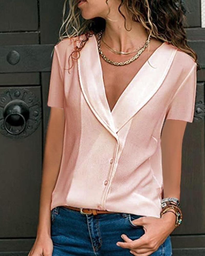 Casual Deep V-Neck Solid Color Fashion Short-Sleeved Top, Pink