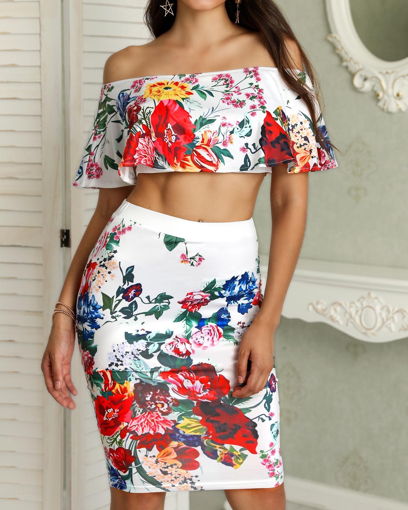 Floral Print Off Shoulder Cropped Top & Skirt Set фото